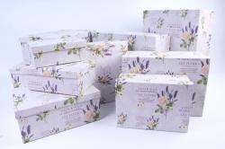Набор подарочных коробок из 10шт- Прямоугольник Лаванда с розой и бабочкой