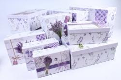 Набор подарочных коробок из 10шт- Прямоугольник Лаванда