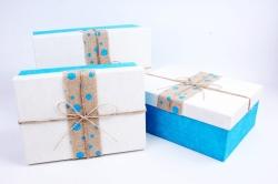 Набор подарочных коробок из 3шт- Прямоугольник лента мешковина голубой горох Р154