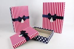 Набор подарочных коробок из 3шт -  Прямоугольник малиновая полоска   К523