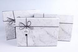 Набор подарочных коробок из 3шт- Прямоугольник мрамор серый  Р143