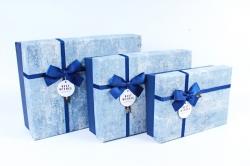 Набор подарочных коробок из 3шт- Прямоугольник патина голубой Р140