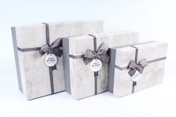Набор подарочных коробок из 3шт- Прямоугольник патина серый  Р140