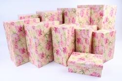 Набор подарочных коробок из 10шт- Прямоугольник Пионы розовые