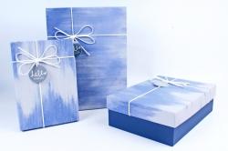 Набор подарочных коробок из 3шт- Прямоугольник разводы синий  Р142