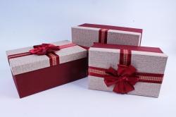 Набор подарочных коробок из 3шт- Прямоугольник рогожка бордовый