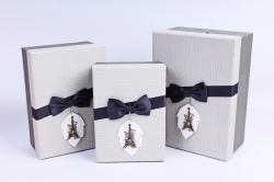 Набор подарочных коробок из 3шт- Прямоугольник рогожка серая