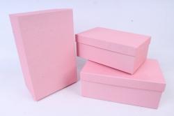 Набор подарочных коробок из 3шт -  Прямоугольник №74  Розовый    Пин74-Р