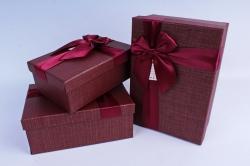 Набор подарочных коробок из 3шт- Прямоугольник с бантом бордовый