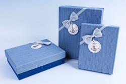 Набор подарочных коробок из 3шт- Прямоугольник с бантом деним крышка