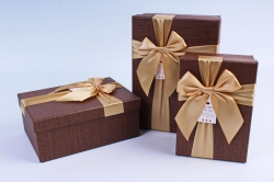 Набор подарочных коробок из 3шт- Прямоугольник с бантом коричневый
