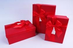 Набор подарочных коробок из 3шт- Прямоугольник с бантом красный