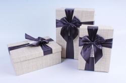 Набор подарочных коробок из 3шт- Прямоугольник с бантом серый