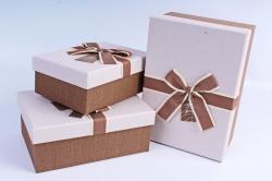Набор подарочных коробок из 3шт- Прямоугольник с блеском бежевый