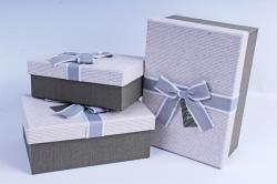 Набор подарочных коробок из 3шт- Прямоугольник с блеском серый