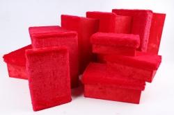 Набор подарочных коробок из 10шт- Прямоугольник с мехом красный  В416