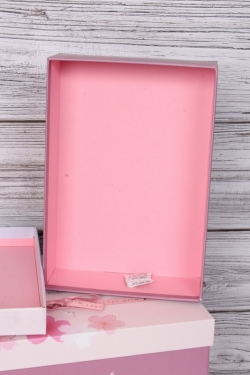 Набор подарочных коробок из 3шт -  Прямоугольник Сакура лиловый 32*24*11см  В523