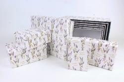 Набор подарочных коробок из 10шт -  Прямоугольник Сезон лаванды   К792