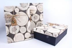 Набор подарочных коробок из 3шт- Прямоугольник спилы  Р145