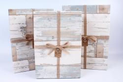 Набор подарочных коробок из 3шт- Прямоугольник старое дерево бежевый Р144