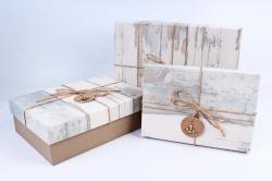 Набор подарочных коробок из 3шт- Прямоугольник старое дерево бежевый  Р141