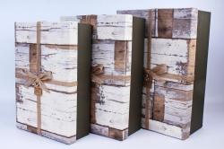 Набор подарочных коробок из 3шт- Прямоугольник старое дерево серыйР144