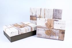 Набор подарочных коробок из 3шт- Прямоугольник старое дерево серый  Р141