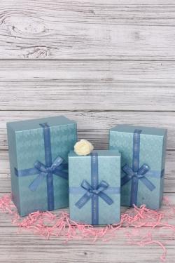 Набор подарочных коробок из 3шт -  Прямоугольник тиснение Ракушки бирюза 21*15*9см В502