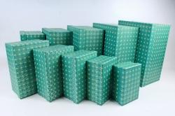 Набор подарочных коробок из 10шт -  Прямоугольник Узор зеленый  К993, 211
