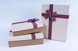 Набор подарочных коробок из 3шт- Прямоугольник в полоску кремовый