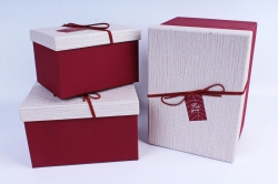Набор подарочных коробок из 3шт- Прямоугольник в серебрянные горошки бордовый