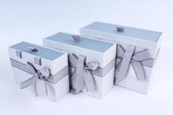 Набор подарочных коробок из 3шт- Прямоугольник выдвижной с ручкой серый  Р155