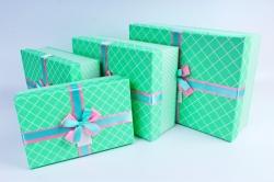 Набор подарочных коробок из 3шт- Прямоугольник  косая клетка Мятный