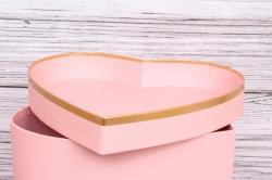 """Набор подарочных коробок из 3шт- Сердце """"Для тебя"""" розовое   d=27*27, h=15см Т415"""