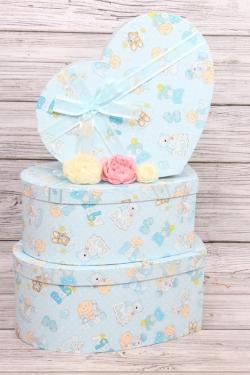 Набор подарочных коробок из 3шт -  Сердце Карапузы голубое 42*32 /h=15см  В351