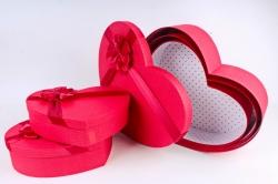 Набор подарочных коробок из 3шт- Сердце рогожка красное  D56