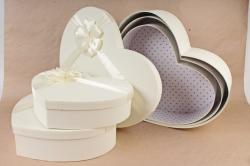 Набор подарочных коробок из 3шт- Сердце рогожка шампань D57