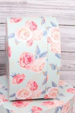 Набор подарочных коробок из 5шт- Сердце Розы на голубом  d=40*32, h=19см Т423