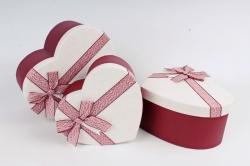 Набор подарочных коробок из 3шт -  Сердце с бантом бардо   К418