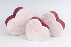 Набор подарочных коробок из 3шт -  Сердце с розовым бантом   К418