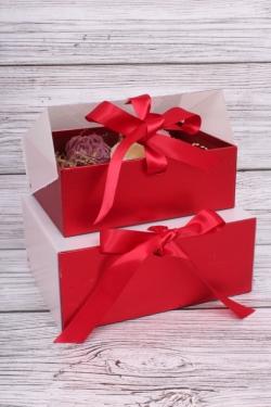 Набор подарочных коробок из 2шт- Шкатулка с прозрачным верхом 24*19*10см красная D16