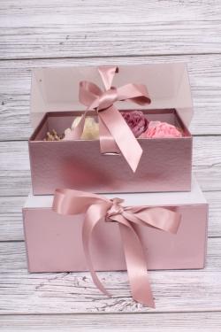 Набор подарочных коробок из 2шт- Шкатулка с прозрачным верхом 24*19*10см лиловая D16