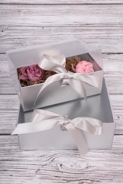 Набор подарочных коробок из 2шт- Шкатулка с прозрачным верхом 24*19*10см серебро D16