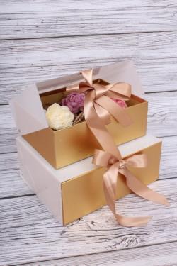 Набор подарочных коробок из 2шт- Шкатулка с прозрачным верхом 24*19*10см золото D16