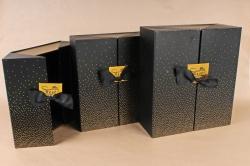 Набор подарочных коробок из 3шт- Шкатулка золотая россыпь черная    D058