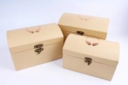 Набор подарочных коробок из 3шт- Сундук с гербом крафт  Т45
