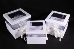 """Набор подарочных коробок из 3шт-  """"Аквариум Куб""""   белый  6790 (Н)"""
