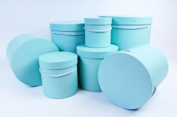 Набор подарочных коробок из 7шт-  Цилиндр серо-голубой