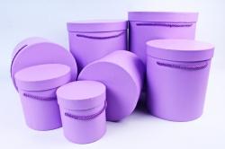 Набор подарочных коробок из 7шт-  Цилиндр сиреневый