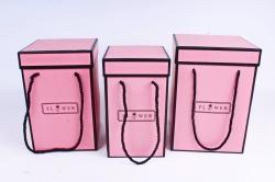 Набор подарочных коробок из 3шт-  Колонна с кантом - коралл